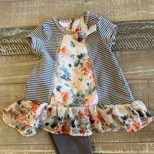 Bonnie Baby 24month floral stripe dress w/leggings